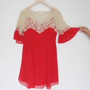 ASOS red lace dress US 8